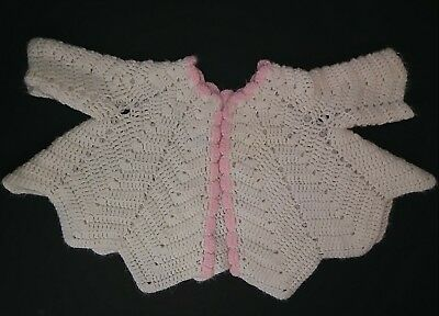 Vintage Doll Sweater Large 1940s 1950s Dy Dee Style Pink White Knit Jacket