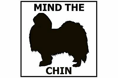 Mind the Japanese Chin - Gate/Door Ceramic Tile Sign