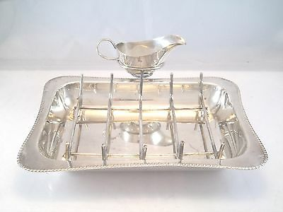 English Asparagus Server Silver Plate Dish Rack Sauce Boat Marked