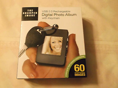 The Sharper Image Usb 2.0 Rechargeable Digital Photo Album With Keychain New