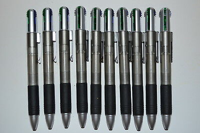 Lot of 5 Misprint, 4-Color Ink, Retractable Plastic Ballpoint Pens with Clip