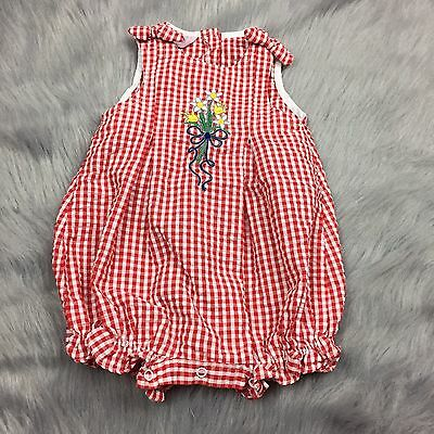 Vintage Baby Girls Red White Gingham Checkered Samara Seersucker Romper