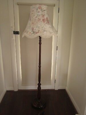 Vintage Art Deco Retro Timber Standard Floor Lamp With Floral Shade