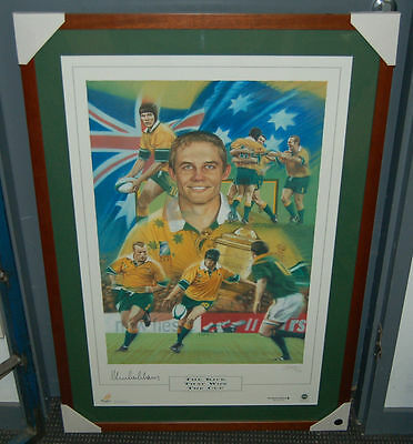 Stephen Larkham Signed Framed The Kick That Won The Cup Wallabies Rugby Print