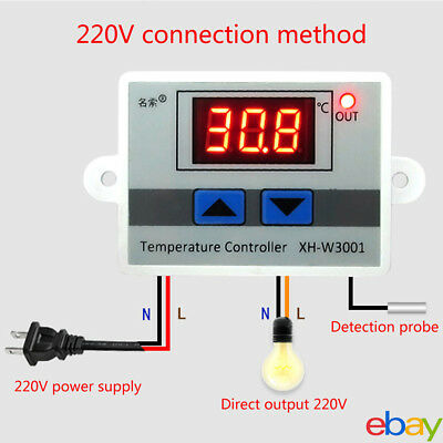 1x Digital LED Microcomputer Thermostat Temperature Controller Switch 220V+Probe