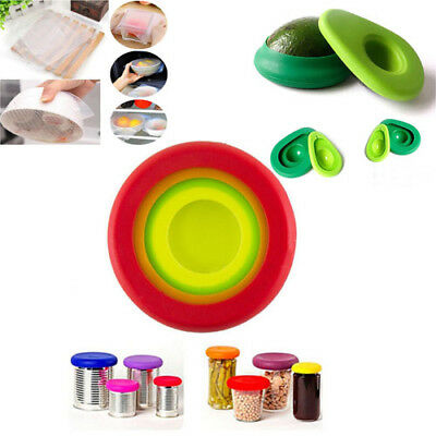 4X Reusable Silicone Food Fresh Keeping Wrap Kitchen Tool Seal Bowl Cover KY