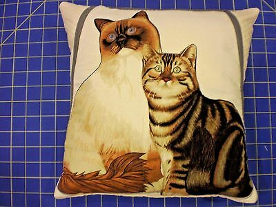 "Cat Pillow Cover 12"" Siamese and Tabby square Panel Print Fluffy Tabby handmade"