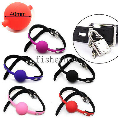 Solid Silicone Leather Strap Oral Harness Adjustable Ball Mouth Gag Muzzle Loack