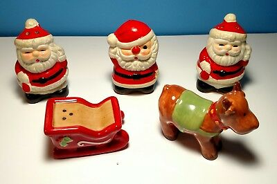 Vintage Christmas Santa, Reindeer & Sleigh Salt & Pepper Shakers Lot Japan
