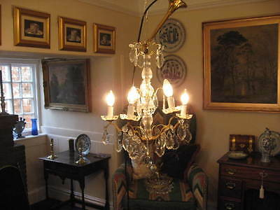 Vintage Antique French 5 Branch Lead Glass & Brass  Chandelier  /3853