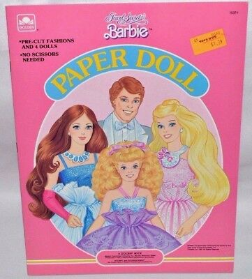 New-1987 Golden Book-Barbie Doll: Jewel Secrets Paper Doll Book-4 Dolls+Fashions