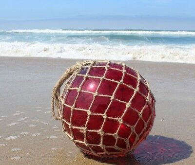 """12"""" Large Vintage Style Japanese Fishing Float; Red Glass with Rope Netting"""