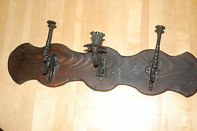 Handmade Antique Pine Wall Rack with two Cast Iron Hooks and One Candle Sconce