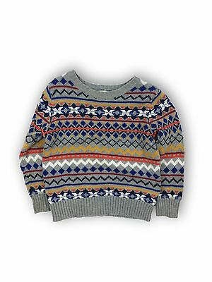 Boy's Old Navy Fair Isle Print Long Sleeve Pullover Sweater Gray/Multi Size 3T