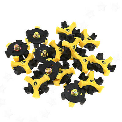 15x Soft TPU Golf Shoe Spikes Replacement Champ Cleat Fast Twist Screw Yellow