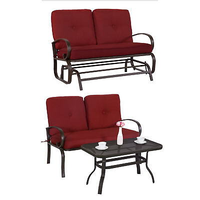 3PC Outdoor Furniture Garden Patio Wrought Iron Conversation Set Chairs w/ Table