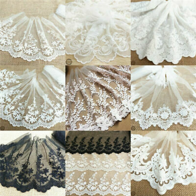 Flower Embroidered Cotton Lace Edge Trim Fabric Tulle Mesh Crafts Vintage Sew