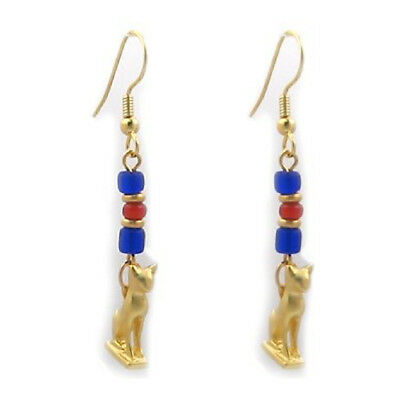 Gold Plated Cat Amulet Charms with Red and Blue Ancient Glass Beads Earrings 2""