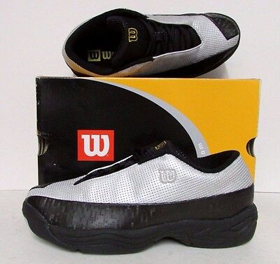 Wilson Trainers Tennis All Court Trainer Shoe Fli-By Silver Black Gold Size 4