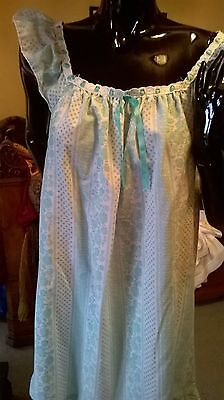 Vintage St Michael nightdress Turquoise ribbon and anglaise trim frill flounce