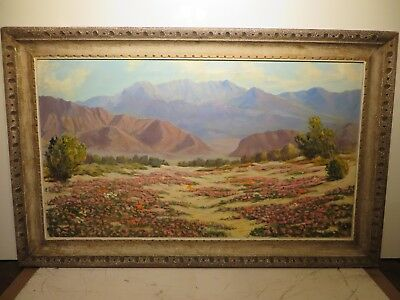 "24x42 original oil painting by Roscoe Lloyd Bobcock of ""Pink California Desert"""