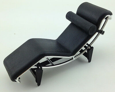 LC4 Le Corbusier Chaise Lounge Chair Mini Mid Century Retro Designer 1/12 Black