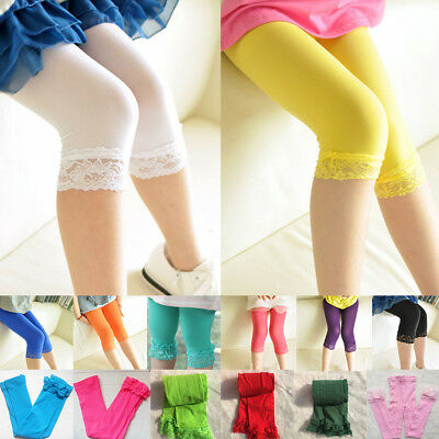 Kids Lace Hook Short Baby Girls Leggings Candy Color Pants 6-11 Year Stretch