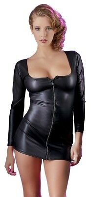 Sexy Wetlook Kleid Schwarz Zip Minikleid Fashion Wet-Look Dress Glitzer S M L XL