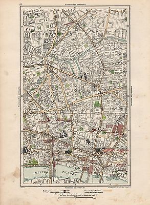 1923 London Street Map - Shoreditch, Hoxton, Clerkenwell,barnsbury,holborn,canno