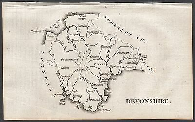 1790 Antique County  Map - Aikin - Devonshire,exeter,dartmouth,sidmouth,barnstap