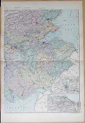 1891 Large Victorian Map - Scotland South East Inset Edinburgh, Perth Environs
