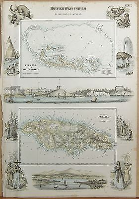 1874 Original Antique Fullarton Illus. Map-British West Indian Poss. Northern