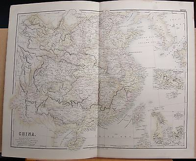 1874 Original Antique Large Fullarton Map- China, Chusan, Canton River Estuary
