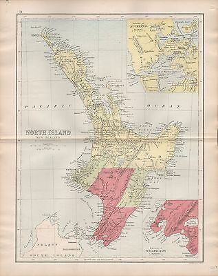 1875 Antique Map - New Zealand North Island Inset Of Wellington, Auckland