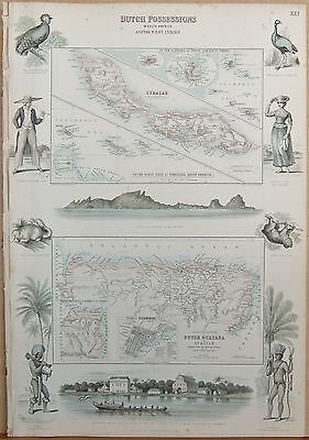 1874 Original Antique Fullarton Illus Map-Dutch Poss In South America And We