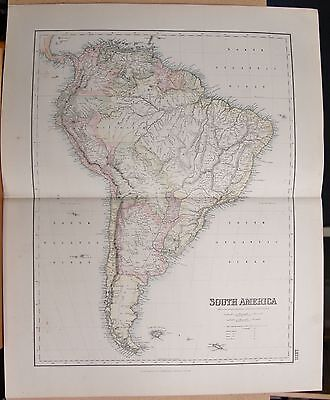 1874 Original Antique Large Fullarton Map- South America