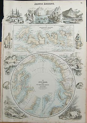 1874 Original Antique Fullarton Illustrated Map-Arctic Regions, Johnson
