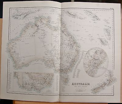 1874 Original Antique Large Fullarton Map- Australia And New Zealand