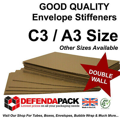 100 x C3 / A3 ENVELOPE STIFFENERS Strong Double Wall Layer Pads 439mm x 309mm