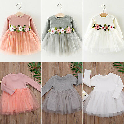 Newborn Toddler Infant Baby Girls Dress Flower Long Sleeve A-line Tulle Dresses