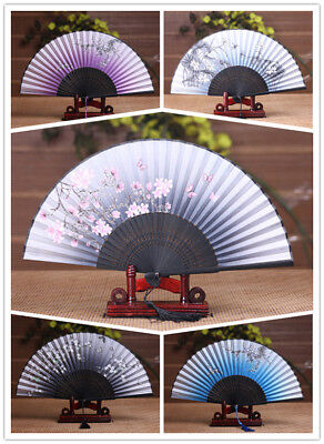 Chinese Japanese Lady Flower Silk Folding Hand Held Dance Fan Party Wedding Prom