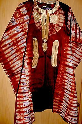 New Unique West African fully embroidered Danshiki top & tye dye Mens~Brown Mix