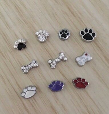 Floating Charm for Memory Locket Necklace Choose your Charm Cat Dog Paws Animals