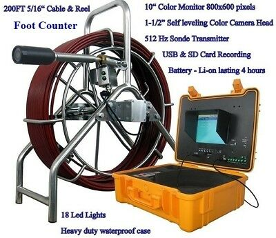 """Sewer Drain Pipe 10"""" LCD 1-1/2"""" Self Leveling Camera 200FT Cable USB 512HZ Sonde"""