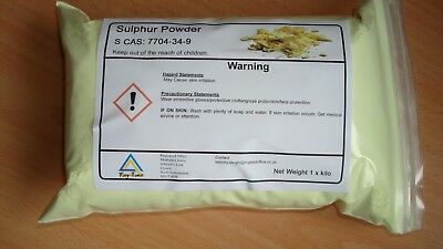 FLOWERS OF SULPHUR POWDER 1Kg ~ 99.99 % HIGH PURITY GREAT VALUE - HEALTH REMEDY