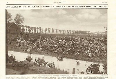 1917 Antique Print - Ww1 - Battle Of Flanders- French  Relieved From Trenches