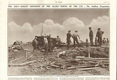 1917 Antique Print - Ww1 - Offensive North Of The Lys - Artillery Preparation