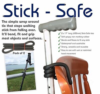 Walking Stick Holder Pack of 2 ties for easy safe walking stick storage