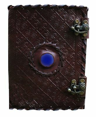 Handmade Embossed Blue Stone Leather Journal Notebook Refillable Sketchbook w...