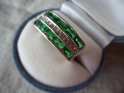 Antique Vintage Art Deco Gold Ring Emerald Green Sapphire White stones size 10